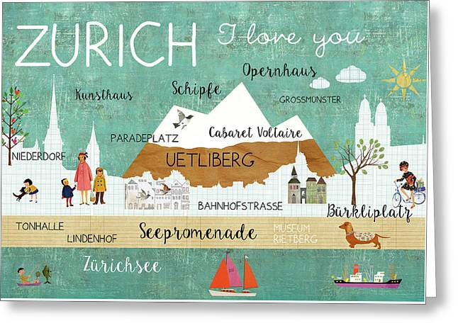 Zurich I Love You Greeting Card