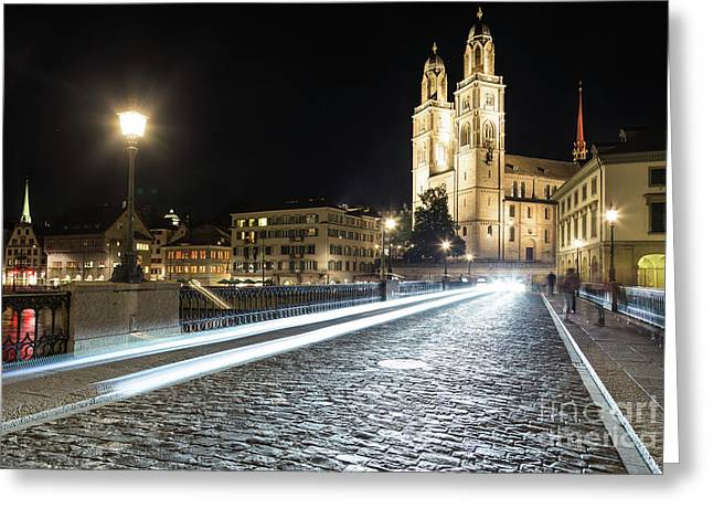 Zurich Night Rush In Old Town Greeting Card