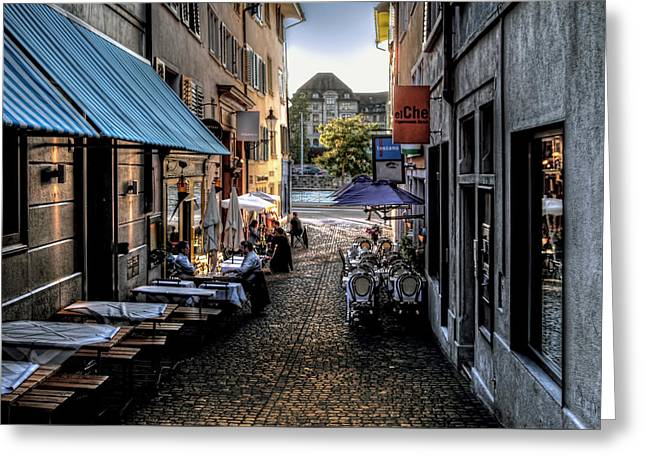 Zurich Old Town Cafe Greeting Card by Jim Hill