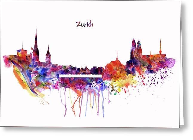 Zurich Skyline Greeting Card by Marian Voicu