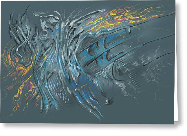 Greeting Card featuring the digital art Zuul Azul by Keith A Link