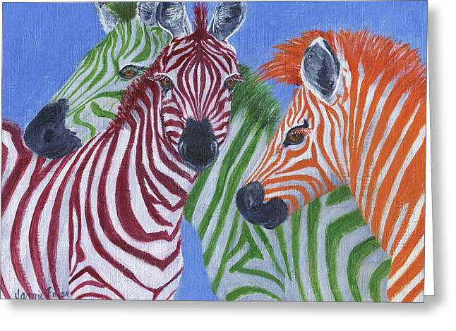 Greeting Card featuring the painting Zzzebras by Jamie Frier