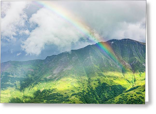 A Rainbow Shines Through Atmospheric Greeting Card by Kevin G. Smith