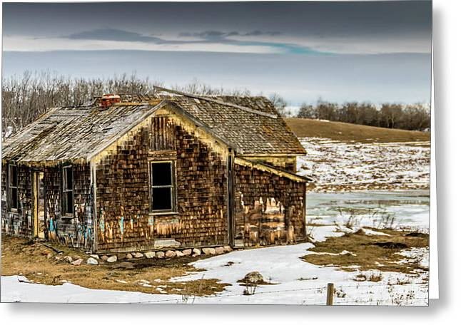Abondened Old Farm Houese And Estates Dot The Prairie Landscape, Greeting Card