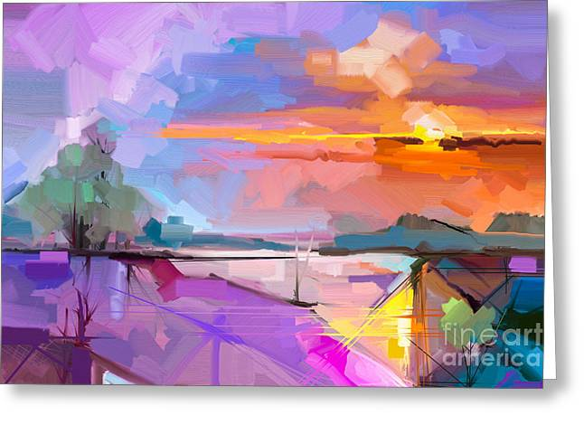 Abstract Oil Painting Landscape Greeting Card
