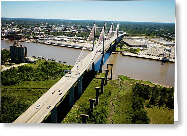 Aerial View Of Talmadge Bridge Greeting Card