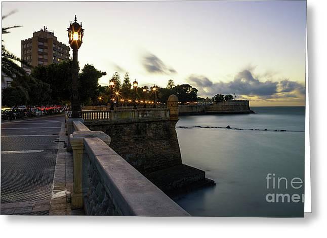 Greeting Card featuring the photograph Alameda Apodaca Promenade Cadiz Spain by Pablo Avanzini