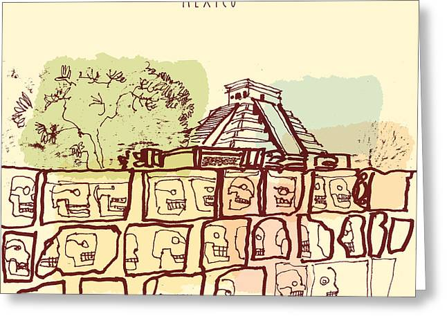 Ancient Mayan Temples In Chichen Itza Greeting Card