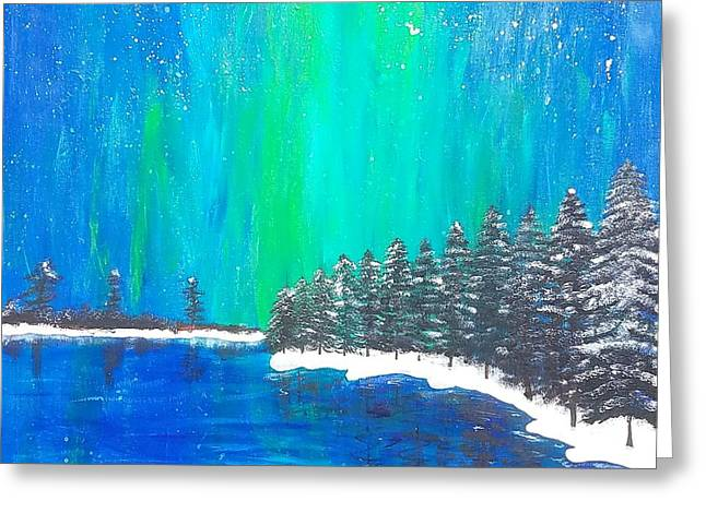 Greeting Card featuring the painting Aurora  by Jennah Lenae