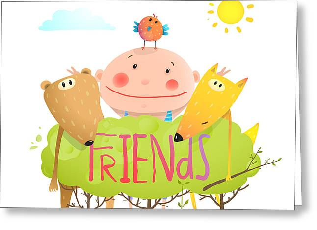 Baby Animals And Kid Childish Funny Greeting Card