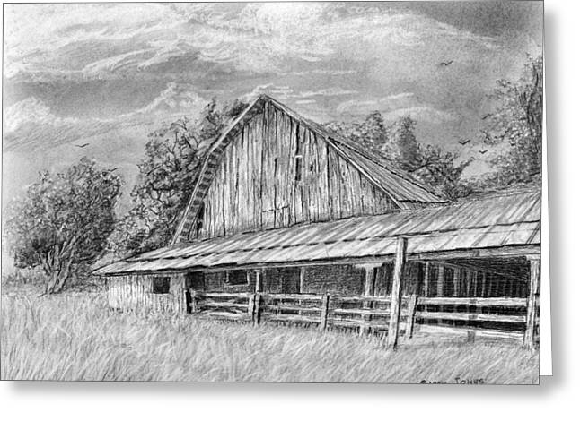 Greeting Card featuring the drawing Barn On Byhalia Road by Barry Jones