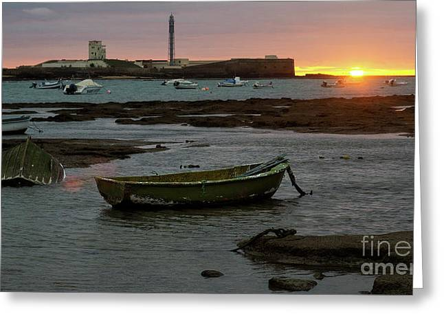 Greeting Card featuring the photograph Beached Boats At Sunset Cadiz Spain by Pablo Avanzini