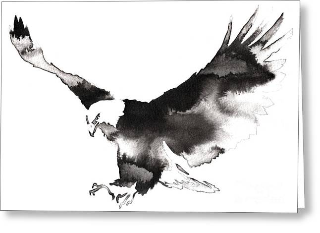 Black And White Monochrome Painting Greeting Card