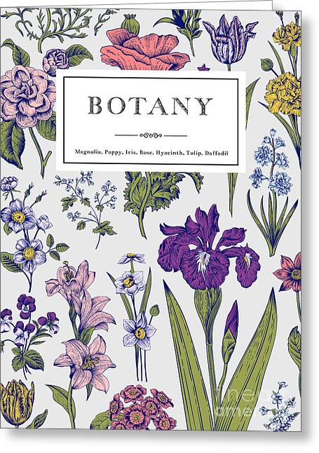 Botany. Vintage Floral Card. Vector Greeting Card