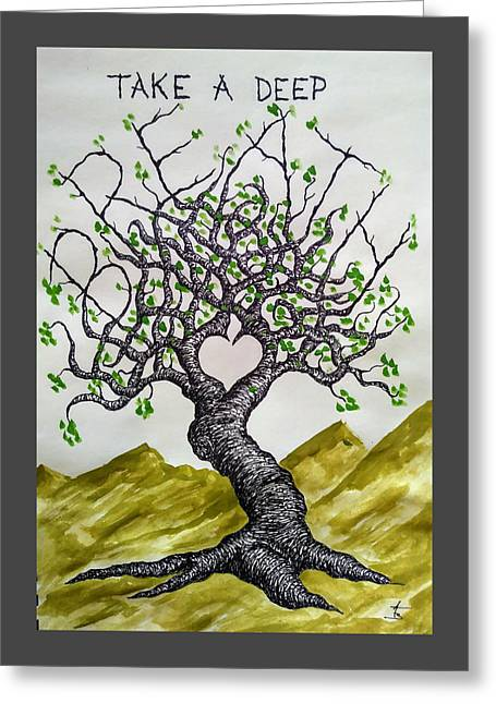 Greeting Card featuring the drawing Breathe Love Tree by Aaron Bombalicki