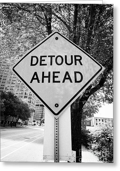 bright orange detour ahead sign in downtown Chicago for an event IL USA Greeting Card
