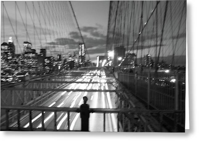Greeting Card featuring the photograph Brooklyn Bridge by Edward Lee