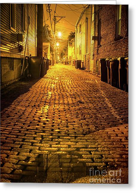 Chicago Alley At Night Greeting Card