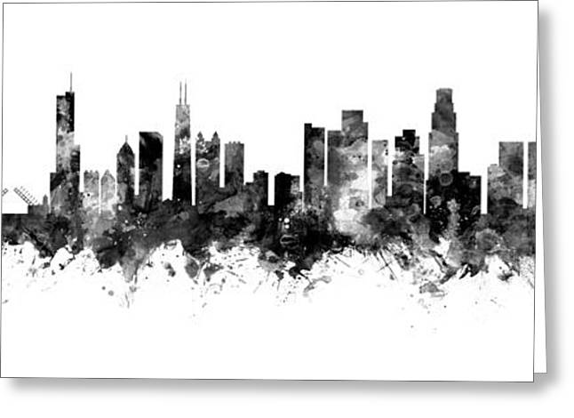 Chicago And Los Angeles Skylines Mashup Greeting Card