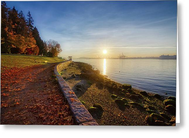Colorful Autumn Sunrise At Stanley Park Greeting Card