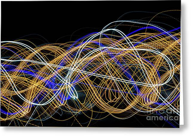 Colorful Light Painting With Circular Shapes And Abstract Black Background. Greeting Card