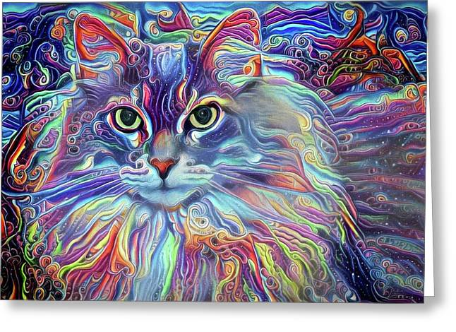 Colorful Long Haired Cat Art Greeting Card