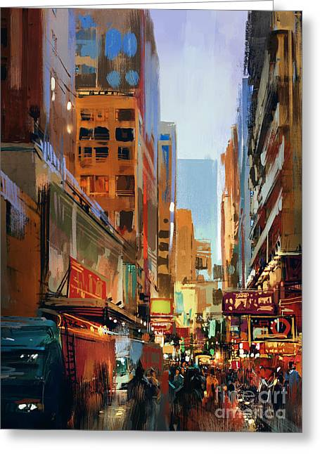 Colorful Painting Of City Greeting Card