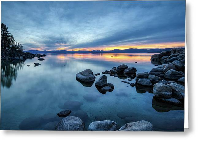 Colorful Sunset At Sand Harbor Greeting Card