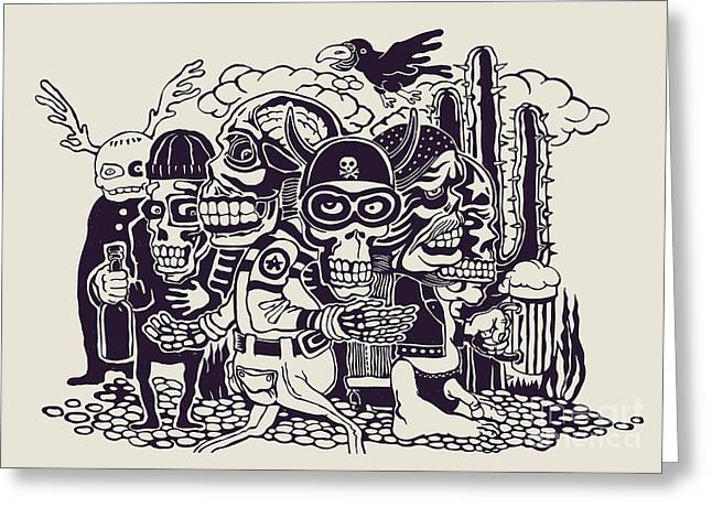 Crazy Persons, Bikers, Skulls And Greeting Card