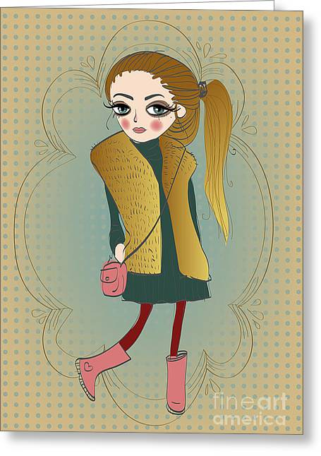 Cute Fashion Little Girl With Frame Greeting Card