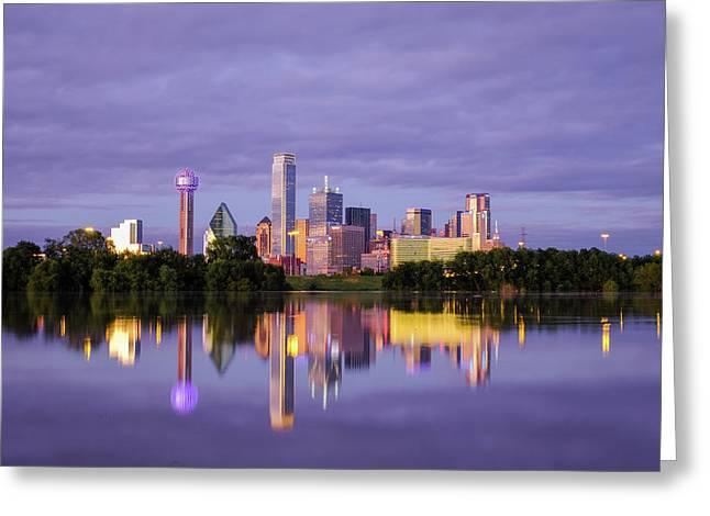 Dallas Texas Cityscape Reflection Greeting Card