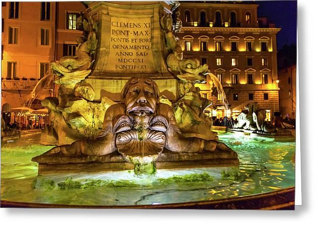 Della Porta Fountain, Piazza Della Greeting Card by William Perry