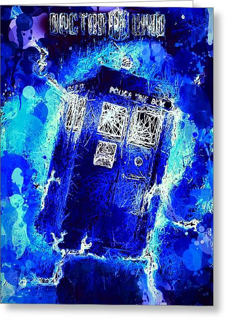 Greeting Card featuring the mixed media Doctor Who Tardis by Al Matra