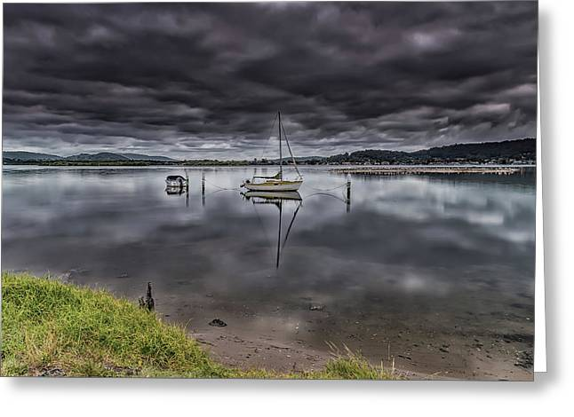 Early Morning Clouds And Reflections On The Bay Greeting Card