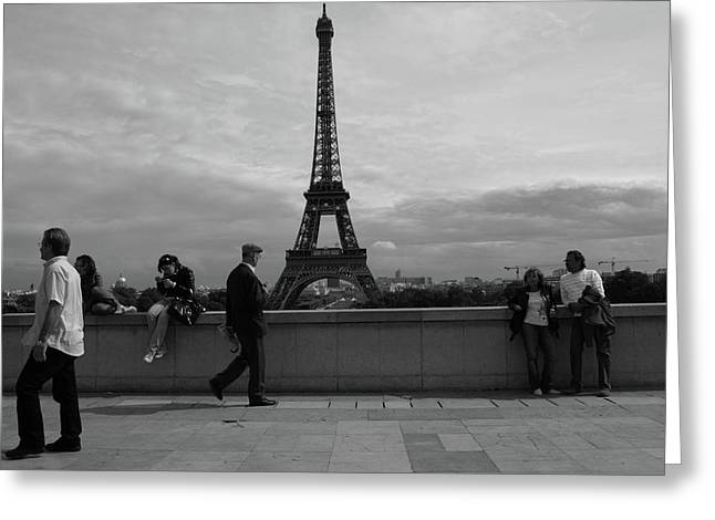 Greeting Card featuring the photograph Eiffel Tower, Tourist by Edward Lee