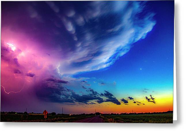 Greeting Card featuring the photograph Epic Nebraska Lightning 007 by NebraskaSC