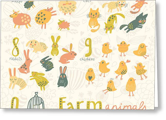 Farm Animals. Learn To Count  Part One Greeting Card