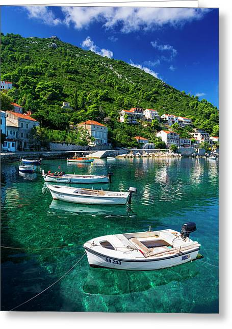 Fishing Boats And Blue Waters Greeting Card by Russ Bishop