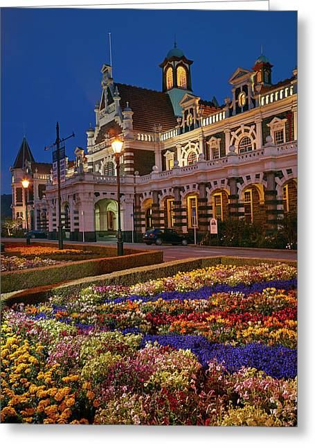 Flower Garden And Historic Railway Greeting Card by David Wall