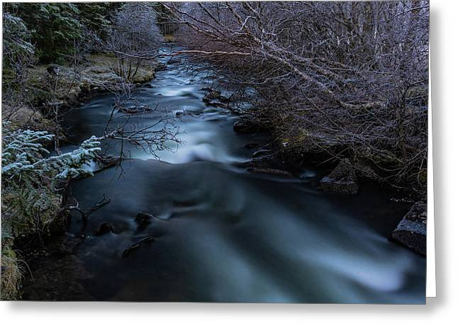 Frozen River And Winter In Forest. Long Exposure With Nd Filter Greeting Card