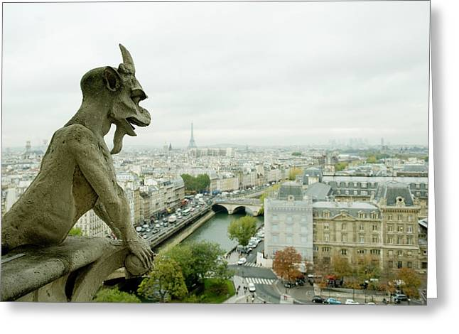 Gargoyle Statue At A Cathedral, Notre Greeting Card