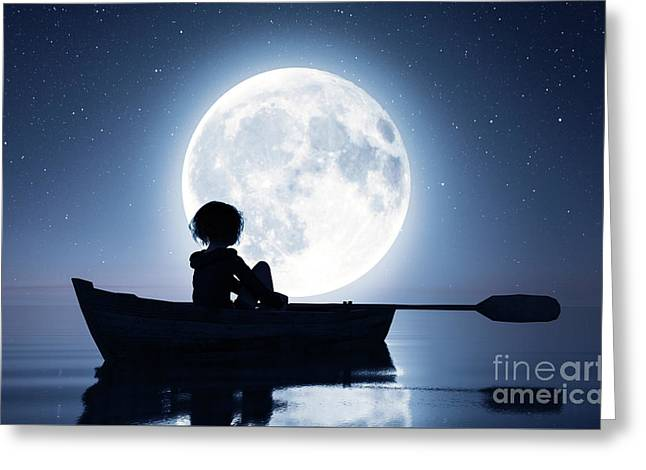 Girl On Row Boat On The Sea Under The Moonlight,3d Rendering Greeting Card