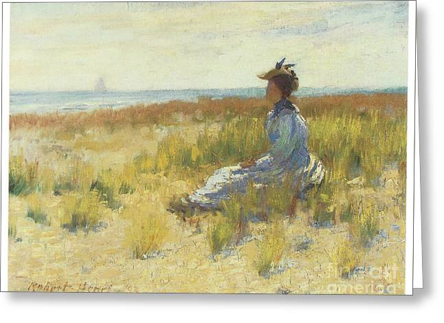 Girl Seated By The Sea Greeting Card