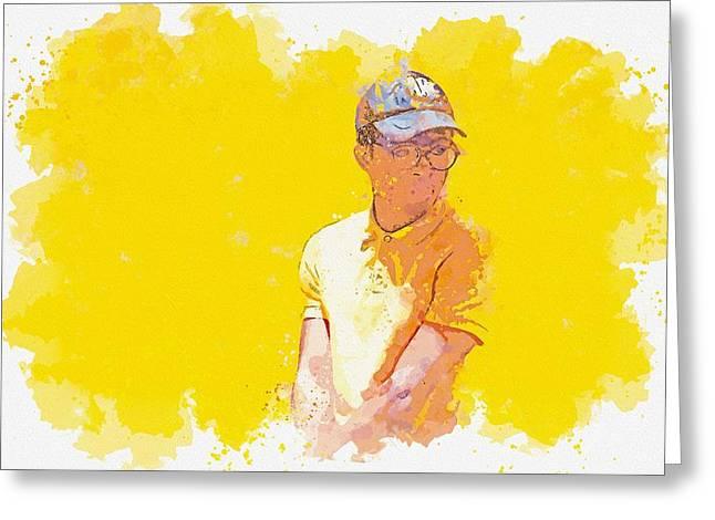 Golfer -  Watercolor By Adam Asar Greeting Card
