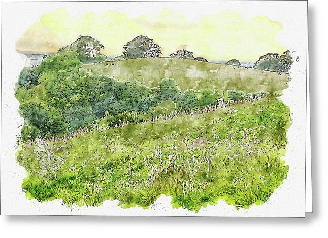 Green #watercolor #sketch #green #nature Greeting Card