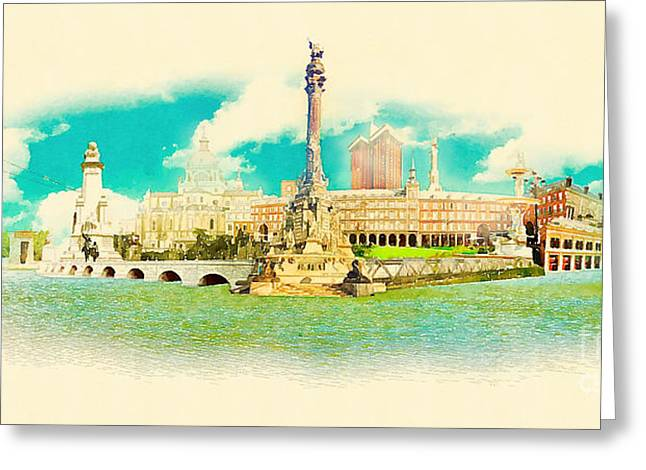 High Resolution Water Color Panoramic Greeting Card