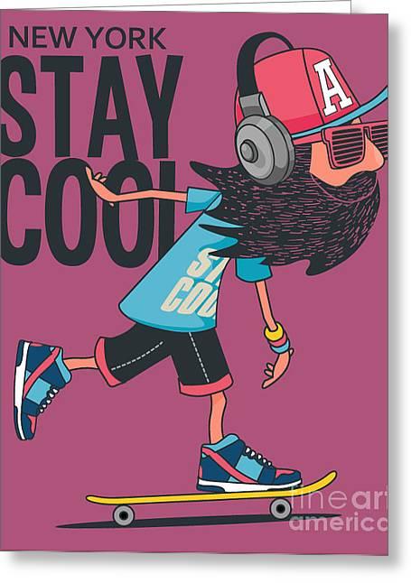 Hipster, Skater Vector Design Greeting Card