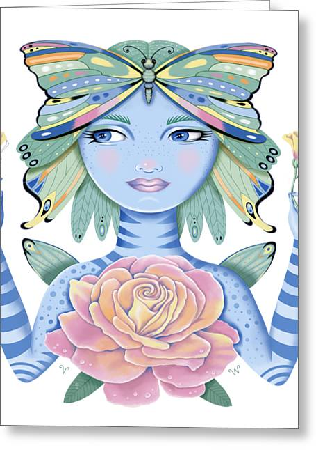 Insect Girl, Winga, With Rose Greeting Card