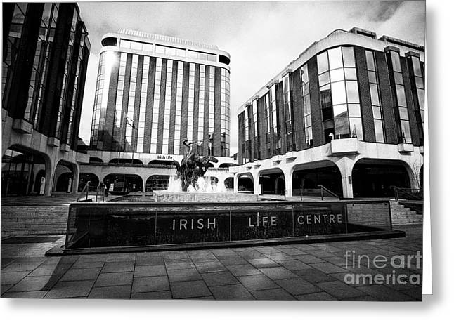 Irish Life Centre With Chariot Of Life Sculpture And Fountain Dublin Republic Of Ireland Europe Greeting Card by Joe Fox