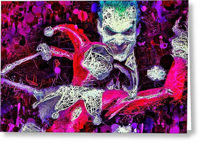 Greeting Card featuring the mixed media Joker And Harley Quinn by Al Matra